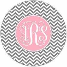 Monogrammed Mouse Pad - Grey Chevron Zig Zag Pink Monogram Personalized Custom