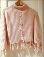 Max Studio Women's 100% Cashmere Light Pink Mock T.Neck Tassel Poncho Sweater OS