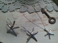 Vintage Sterling Silver Starfish Pendant Necklace set with starfish earrings set