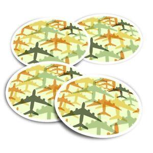 4x Round Stickers 10 cm - Airplane Plane Pilot Airport  #2839
