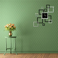 3D DIY Wall Clock Home Modern Decor Crystal Mirror Sticker Living Room #NE8Z