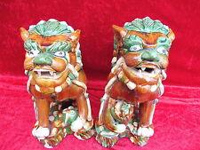 2 hermoso,viejo Figuras__Leones guardianes_China__Cerámica Terracota esmaltado__