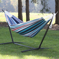 9Ft Double Cotton Hammock Blue Sturdy Space Saving Steel Stand +Portable Bag NEW