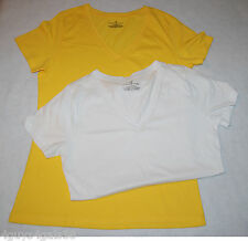 Womens Tee Shirt TWO LOT White YELLOW S 4-6 V NECK Short Sleeve