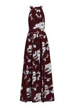 Jolie Moi Size 10 UK Red/Burgundy Floral Print Halter neck Summer/Evening Dress