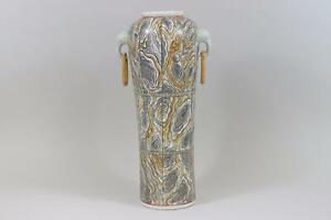 Chinesische 42cm Porzellan Henkelvase Vase handbemalt Bodenmarke (RK547)