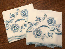 Vintage Blue Embroidered Cross Stich Crocheted Pair Pillowcases