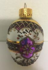Vintage Glass Christmas Tree Ornament Antique Purple Gold Embellished Hand Paint