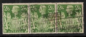 GVI - 1939 Arms. SG476b. 2s 6d yellow-green. Used strip x 3 values.