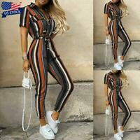 Women Ladies Striped Jumpsuit Romper Bodycon Playsuit Clubwear Pants Trousers US