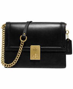 Coach Hutton Black Leather Shoulder Bag 88342