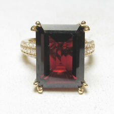 Estate $2900 14K Yellow Gold 14.00 Ct Natural Red Garnet And Diamond Ring
