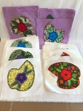 Vintage 60 Square Hand Embroidered Flowers Quilt Blocks