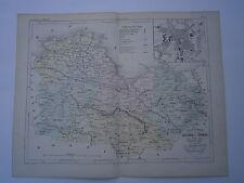 Carte 19° 1852  couleur atlas Malte brun Département Cotes du Nord St Brieuc