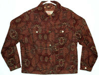 Vtg The Territory Ahead Women's Boho Burgundy Tappestry Jacket Size Medium
