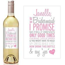 Will you be my Bridesmaid? Wine bottle stickers / label . Personalised.