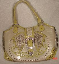 NWT LANY WESTERN PURSE SHOULDER BAG CREAM YELLOW BLING RHINSTONES CROSSES BELT