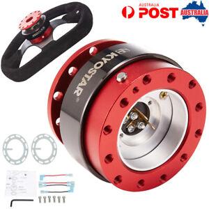 Red Aluminum Car Steering Wheel Quick Release Hub Snap Off Boss Kit Universal