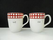 Rae Dunn GULP/CHUG Off White/Red Checkered set of 2- 16oz Coffee Mugs New
