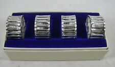 F.B. Rogers Silver Co 4 Bamboo Napkin Rings Vintage Japan Boxed Set MCM Plate