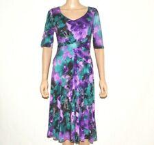 M&S PER UNA Stunning Purple Green Jersey Midi A-line Dress Size 10 12 14 (A101)