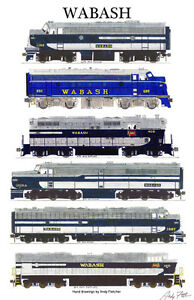 "Wabash Locomotives 11""x17"" Railroad Poster by Andy Fletcher signed"