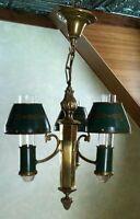 Vtg French Green Tole Chandelier Brass Pendant 3 Light Bouilotte Fixture