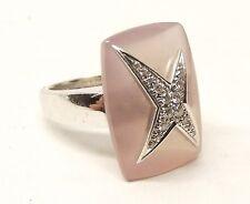 Auth Mauboussin 18K White Gold Diamond Ring Sz 6.5 Etoile Divine Rose Quartz