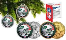 NEW YORK JETS Colorized JFK Half Dollar US 2-Coin Set NFL Christmas Ornaments