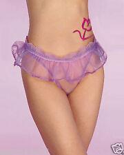 """Sexy  Purple See Thru Ruffle Skirt Trim Thong Underwear(fit waist 24-31"""")U2054"""