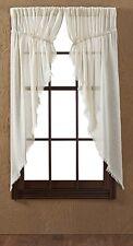 "TOBACCO CLOTH NATURAL PRAIRIE CURTAIN 2 PC SET 63X36"" UNLINED FRINGED"