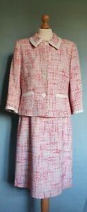 L K Bennett Pink/White Boucle 2 Piece Dress Suit With Pockets Size  16