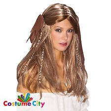 Pirate mieux Femmes brown blonde en perles perruque déguisements adulte