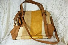 STEVE MADDEN Tote Satchel Handbag Shoulder Purse Large Beige Taupe Tassel