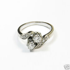 Antiker Toi & Moi Diamant Ring 0,52 ct Brillanten 750 Weißgold Verlobungsring