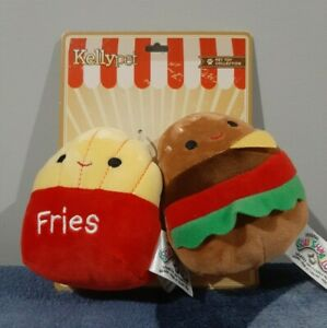 Squishmallow Kellypet pet toy collection Floyd fries & Carl burger HTF Brand New