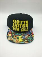 Pokemon Gotta Catch'em All Pikachu Charizard Squirtle Snapback Cap Hat Black NWT