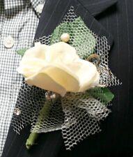 White-off Flower Boutonniere, Wedding Accessories, Prom