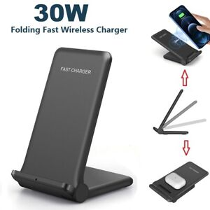 30W Qi Fast Wireless Charger Stand Dock Pad For Apple iPhone 12 Pro Samsung S21+
