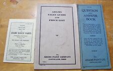 1930s ADAMS PAINT CO. Sales Guide, Price List. Question and Answer Book