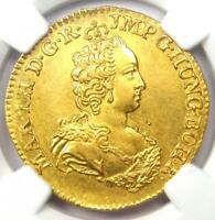 1750 Austria Netherlands Maria Theresa Gold 2 Sovereign D'OR Coin - NGC UNC (MS)