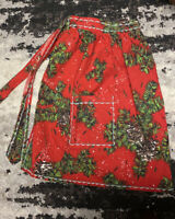 Vintage Heavy Cotton Holiday 1/2 Apron Hand Crafted