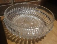 Large Cut Clear Glass Serving Bowl with Nice round design & Diamond Pattern
