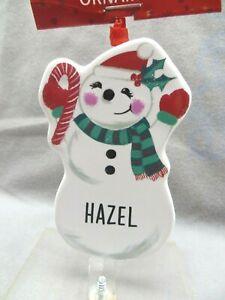 "HAZEL Ganz Personalized Ornament 3.5"" Ceramic Christmas Snowman Holiday"