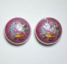 Bouton ancien - Porcelaine peinte 21 mm -  Vintage Ceramic Button