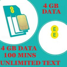 EE 4G Sim Card Pay As You Go £10 Pack 4GB Data Standard Micro Nano size