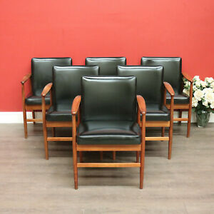 Mcennally Chairs, Set of 6 Retro 1970's Mcennally Office Chairs in Maple Timbers