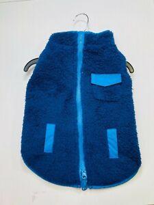 Pets dogs winter rain coat vest warming size L blue reversible fleece