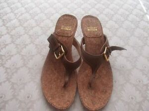 NEW Stuart Weitzman Sexy Taupe Leather Cork Footbed Backless Thong Sandals,Sz 9M