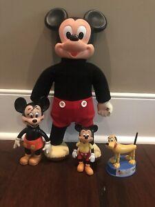 VINTAGE MARCHING MICKEY MOUSE HASBRO WALT DISNEY Plus 2 Bonus Mickeys & Pluto